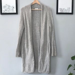 Long light grey cardigan with pockets from Aritzia